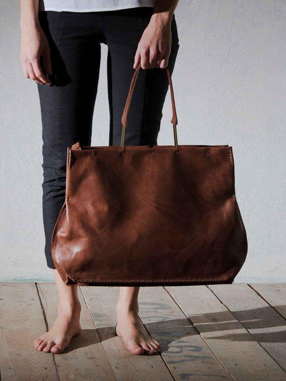 Chestnut brown leather bag, Large handmade tote bag, Shoulder bag for women, Italian leather - 100% Hand stitched, ONE DUO