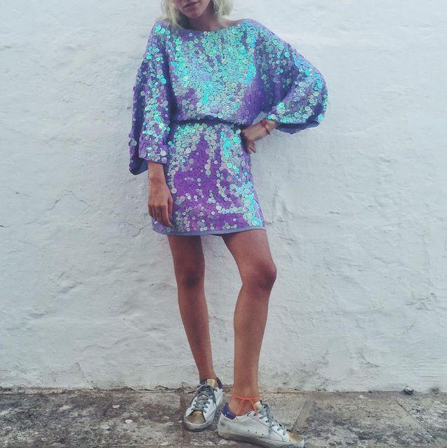 Blanca Miró con vestido kimono de lentejuelas ASOS @blancamirosc