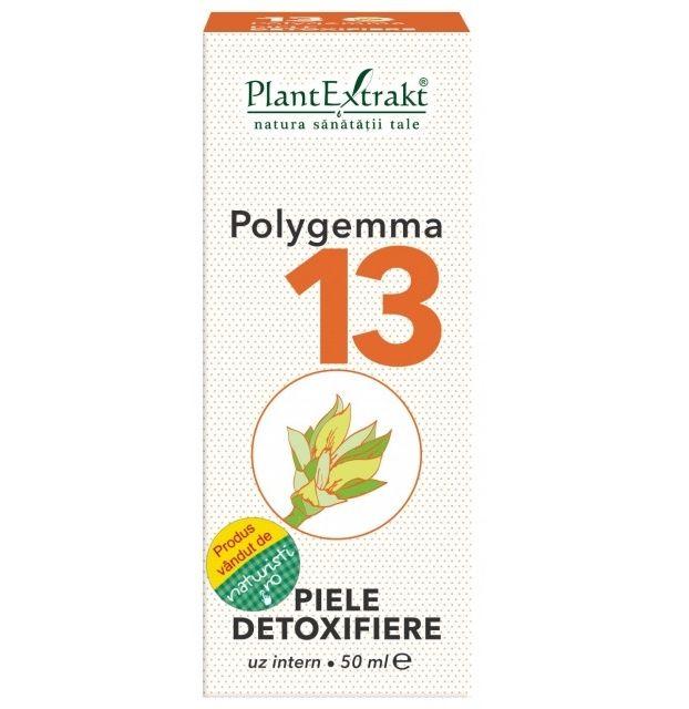 Din nou pe stoc Polygemma Nr.13 - pentru detoxifierea pielii. Acţiune principală: dermoprotectoare, antiseptică, regularizantă a secreţiilor pielii, sprijinind procesul natural de detoxifiere cutanată