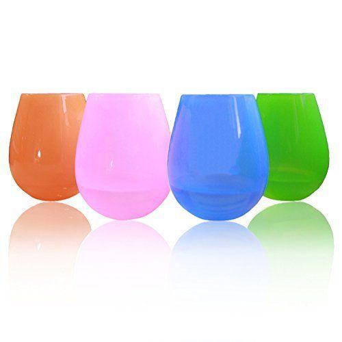 Kuke Gobelet en silicone, lot de 8 coupes et 4 couleurs. Verres à vin verres, à eau incassable, idéal pour camping, pique-nique, voyages,…