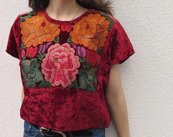 Coleccionistas Vintage terciopelo había bordada Blusa de Tehuantepec mexicana Frida Kahlo. cApprox. Tamaño 2/6