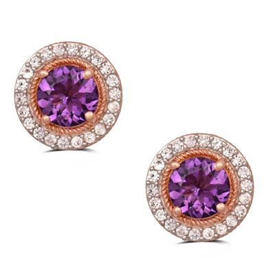 Zales 8.0mm Amethyst and Lab-Created White Sapphire Floral Stud Earrings in Sterling Silver with 14K Rose Gold Plate 3rsJV