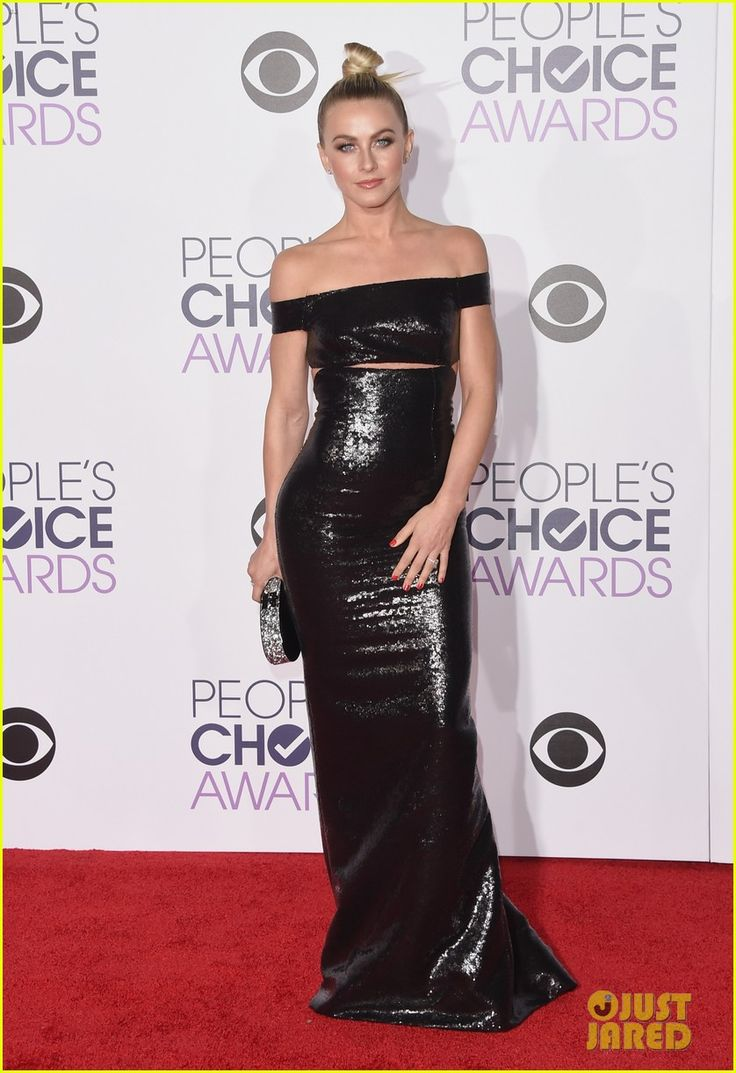 Julianne Hough is wearing a Kaufmanfranco Dress with Giuseppe Zanotti Shoes, an Edie Parker Clutch, & Forevermark Diamonds Jewelry At 2016 People's Choice Awards held at the Microsoft Theater on Wednesday (January 6, 2016) in Los Angeles.