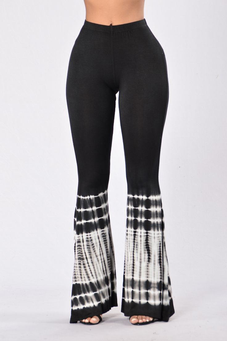 - Available in Black - Elastic Waistband - Flared Leg - Tie Dye - 96% Rayon, 4% Spandex