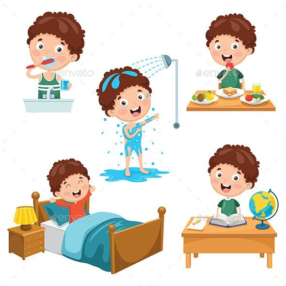Vector Illustration Of Kids Daily Routine Activities Daily Routine Activities Kids Daily Routine Daily Routine Kids