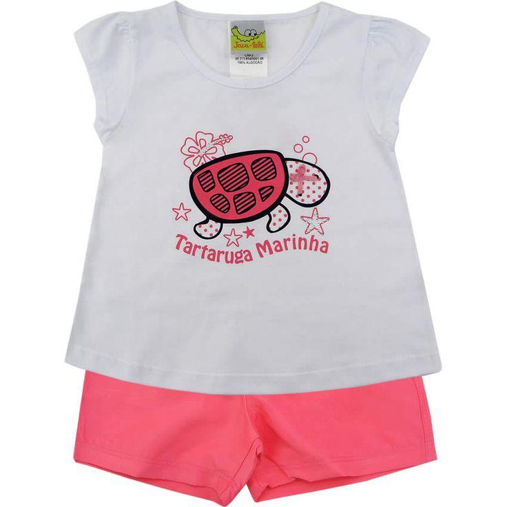 Conjunto Infantil Tactel Feminino Branco - Jaca-Lelé :: 764 Kids | Roupa bebê e infantil