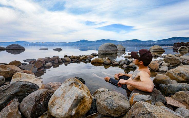 Paradise in Brockway Hot Springs on the shore of Lake Tahoe.- Hot Springs Near Reno and Lake Tahoe