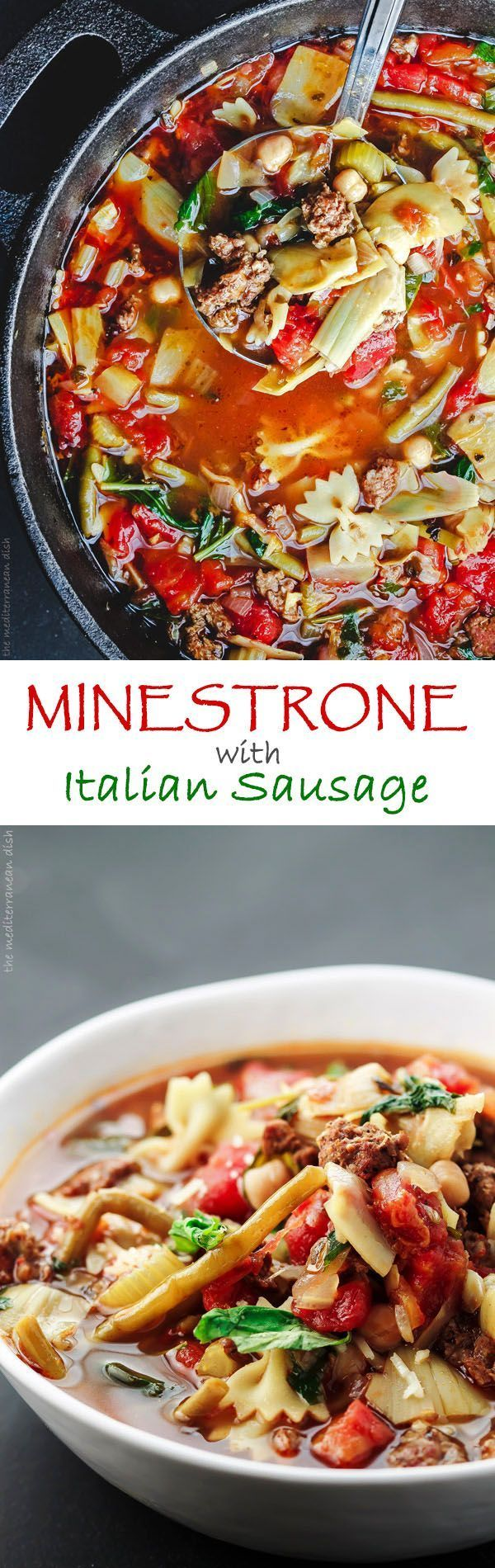 Spicy Italian Sausage Minestrone Recipe. Not all minestrone recipes are created equal! This is a  hearty soup filled with texture and flavor. Made with chickpeas, artichoke hearts, green beans, fresh herbs like parsley and basil, and more.