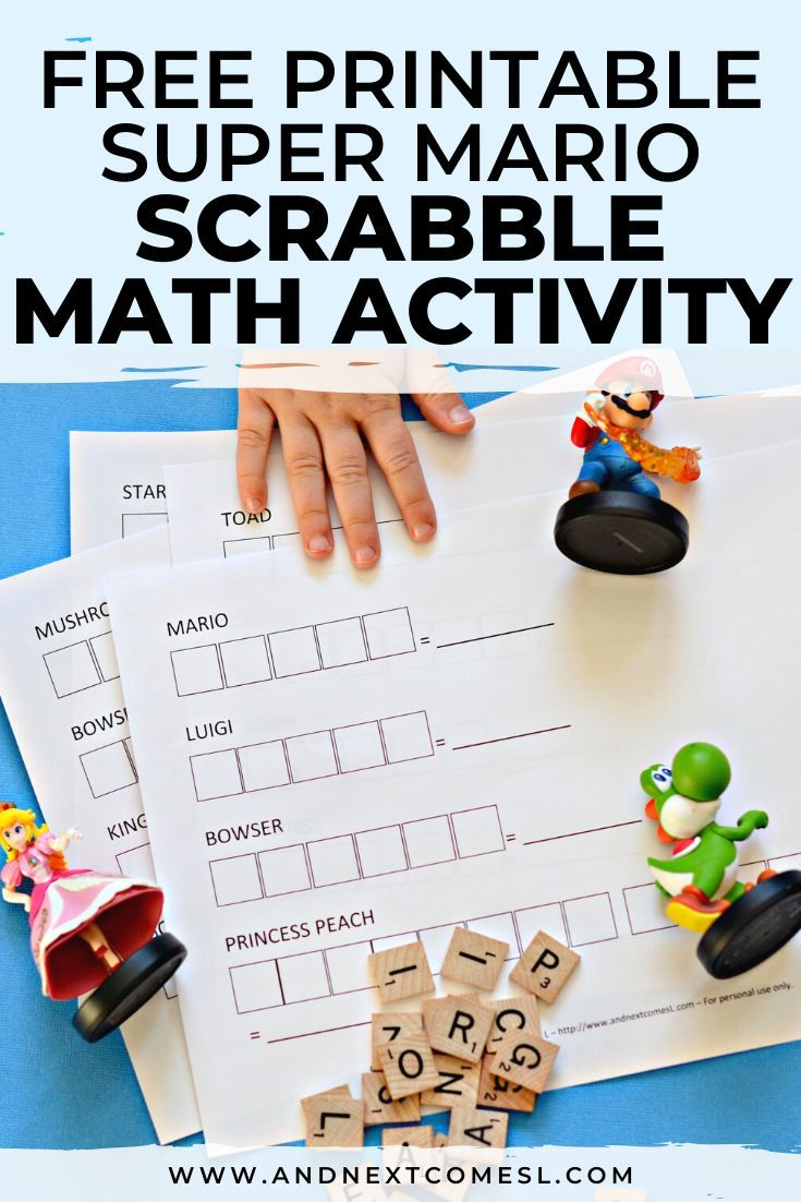 Super Mario Themed Scrabble Math Free Printable Kids Math Worksheets Super Mario Business For Kids