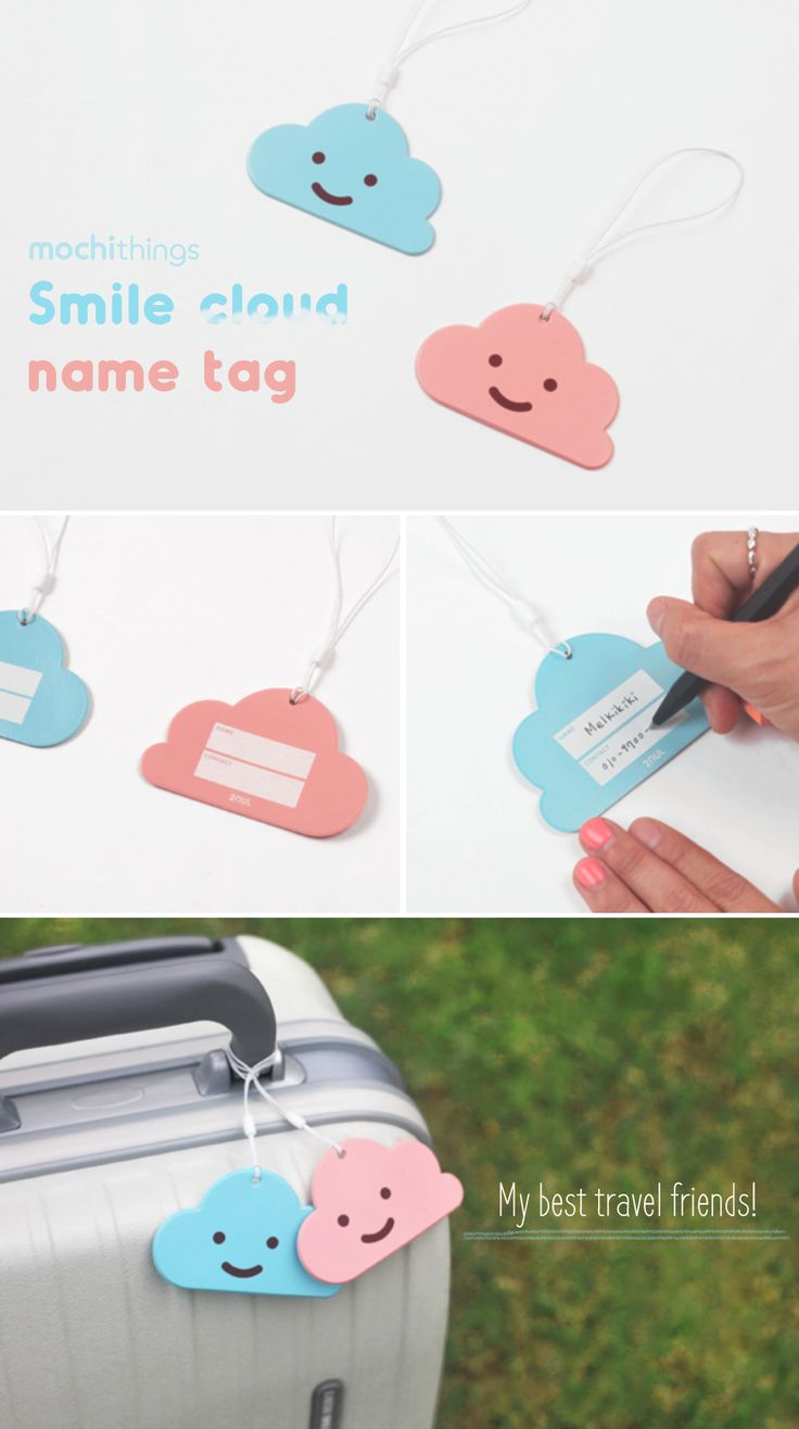 Attach this super cute and adorable Smile Cloud Name Tag on your luggage! The Smile Cloud Name Tag is designed to easily distinguish your luggage from other luggages! The rear of the tag also has an area where you can write identification information in case it gets lost through baggage claim. You can also use the Smile Cloud Name Tag anytime on your backpack, tote bag, suitcases and more! A Sky Blue and a Baby Pink color is available at mochithings.com for an adorable couple match too!