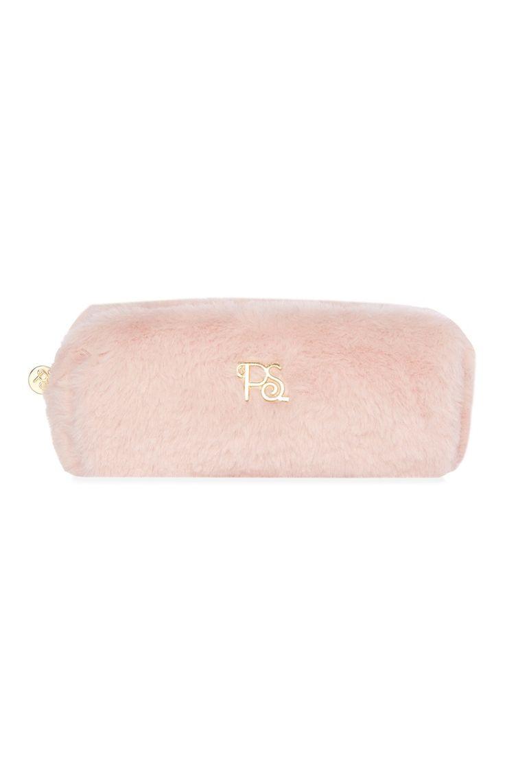 Primark - Neceser de maquillaje de pelo sintético rosa ...