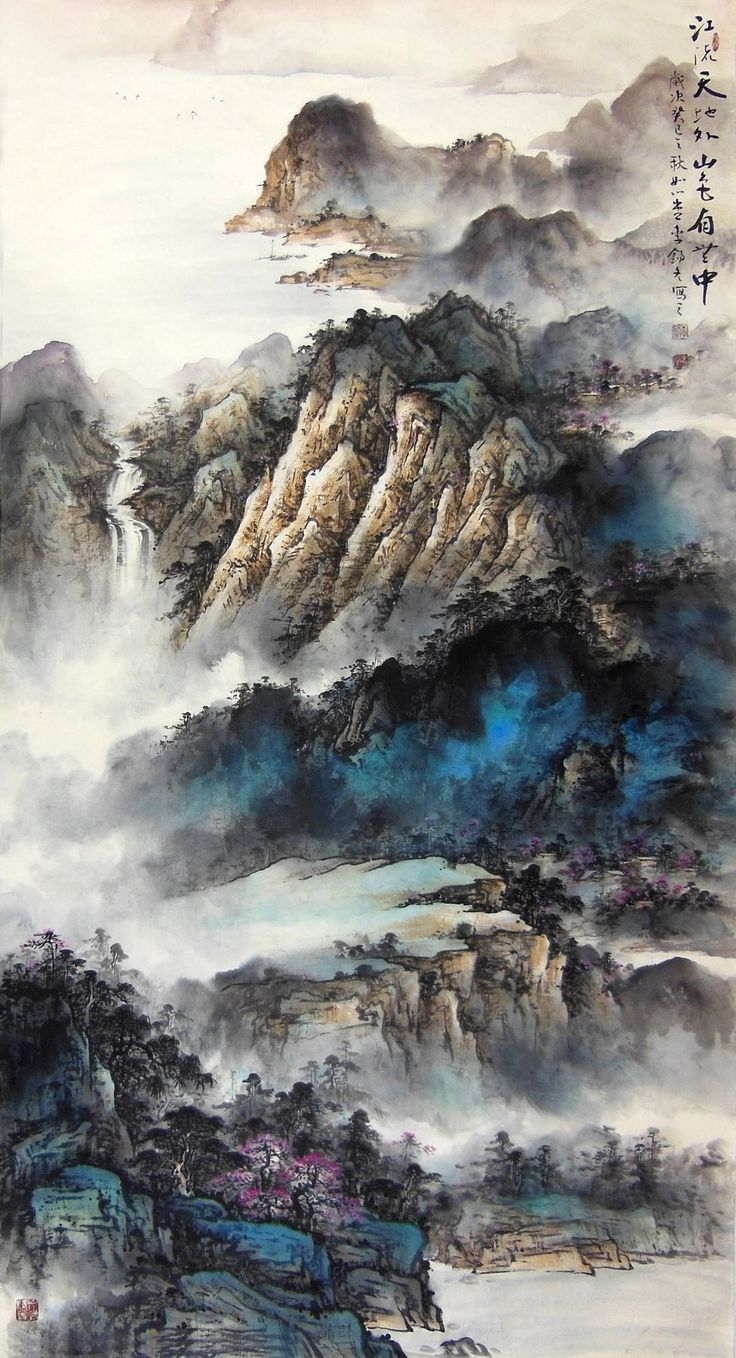 Rivulet Surround Cloud Mountains Landscape Abstract art Chinese Ink Brush Painting, 178cm×96cm Chinese wall scroll painting Freehand brush work Artist original works of handwriting Rice paper Traditional art painting. USD $ 1475.00