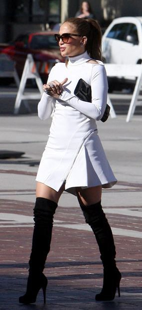 Jennifer Lopez in Christian Louboutin Thigh High Boots ...