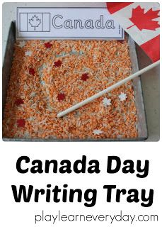 An easy to set up writing tray for Canada Day to help preschool kids work on writing skills without any pressure just fun.