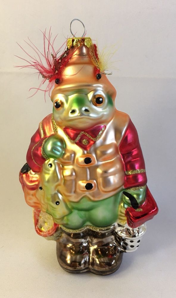 Fishing Frog Christmas Ornament Peschka Glass | eBay - Fishing Frog Christmas Ornament Peschka Glass In 2018 Christmas