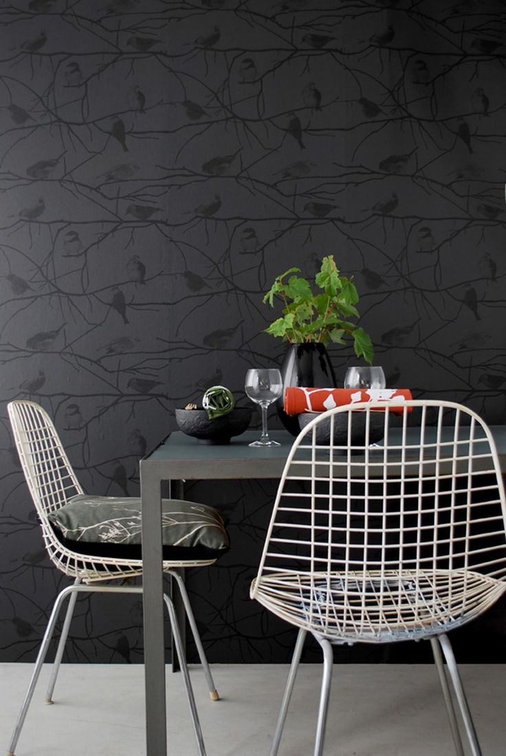 Pin french cafe style chair in red by ines cole on pinterest - Via Style E State Ferm Living Wallpaper Eames Wire Chairs