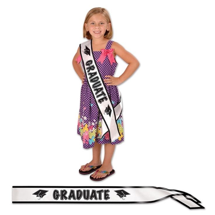 """Pack of 6 White and Black Graduate"""" Satin Sash Graduation Party Accessories 27"""""""