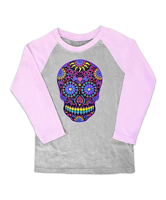Gray & Pink Neon Skull Raglan Tee - Toddler & Girls