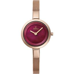 OBAKU Siv - ruby // rose gold and red stainless steel warch