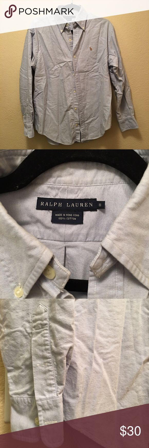 Women's Polo Ralph Lauren Oxford Shirt like new Classic blue women's oxford in excellent condition. Sorry I don't iron! Polo by Ralph Lauren Tops Button Down Shirts