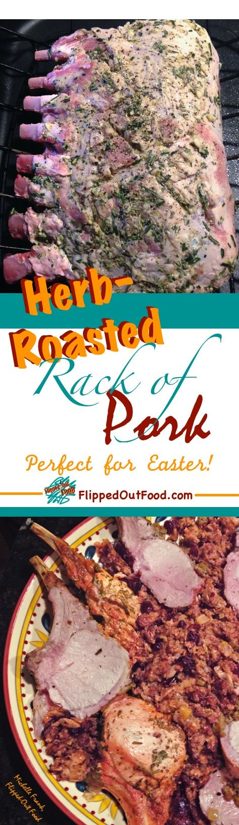 Herb-Roasted Rack of Pork is an easy meal that's fancy enough to impress at Christmas, Easter, or any special-occasion dinner.  via @FlippedOutFood