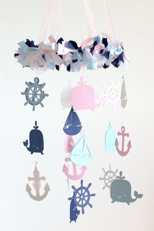 Nautical Nursery Mobile in Pink Navy Baby Blue by LovebugLullabies