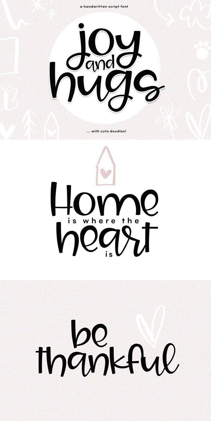 Download Joy & Hugs Handwritten Script Font - with doodle extras in ...