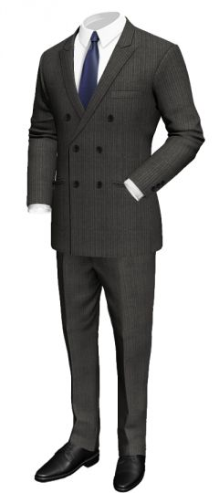 Double breasted pinstriped suit in merino wool: Slim fit Peak lapel Black lining Fine grey neck lining Pleated pants  http://www.tailor4less.com/en/collections/custom-suit/premium-suits-collection/double-breasted-pinstriped-suit-in-merino-wool