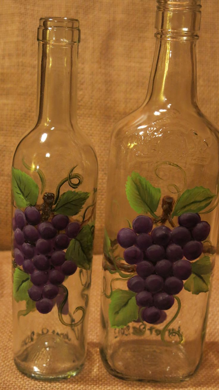 painted grape bottles | Hand Painted Wine Bottles | Wine ...