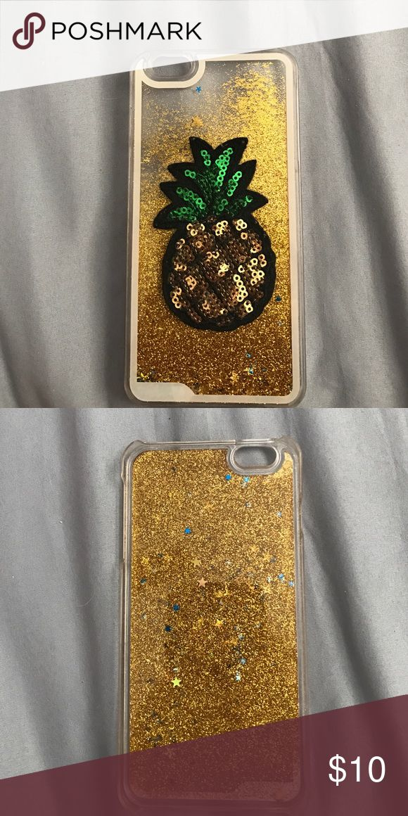 Sparkly Pineapple phone case iPhone 6 Plus case, with falling glitter (gold with blue and gold stars) Accessories Phone Cases
