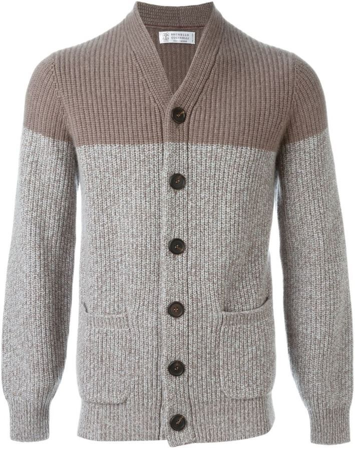 Brunello Cucinelli cashmere colour block cardigan