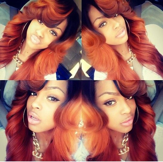 25 beautiful burnt orange hair color ideas on pinterest orange ombrlox 18 remy body wave hair in red curry pmusecretfo Gallery