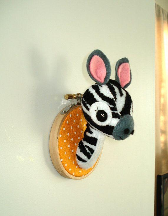 Felt faux taxidermy. Small Zebra trophy head. Feltidermy, fauxidermy, wall art, embroidery hoop.