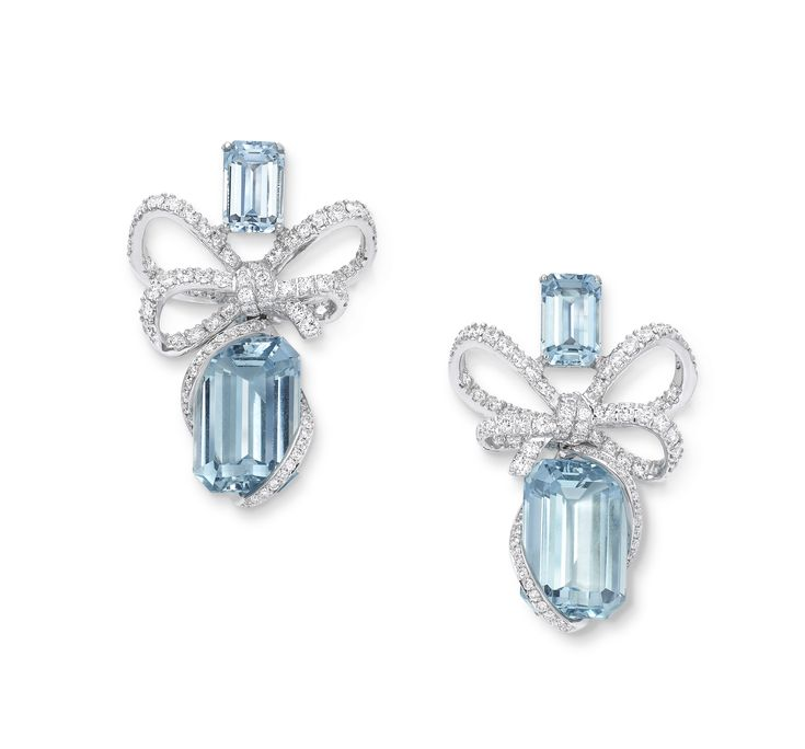 Lyla S Bow High End Collection Aquamarine Earrings Crafted In 18k White Gold Diamonds Gvs