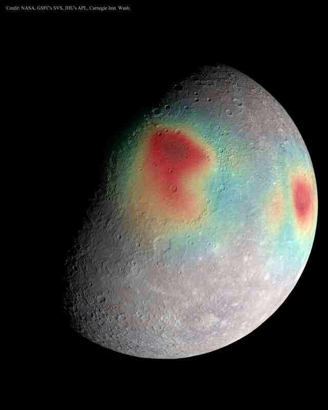 What's that under the surface of Mercury? The robotic MESSENGER spacecraft that had been orbiting planet Mercury for the past four years had been transmitting its data back to Earth with radio waves of very precise energy. The planet's gravity, however, slightly changed this energy when measured on Earth, which enabled the reconstruction of a gravity map of unprecedented precision. Here gravitational anomalies are shown in false-color, superposed on an image of the planet's cratered surface…