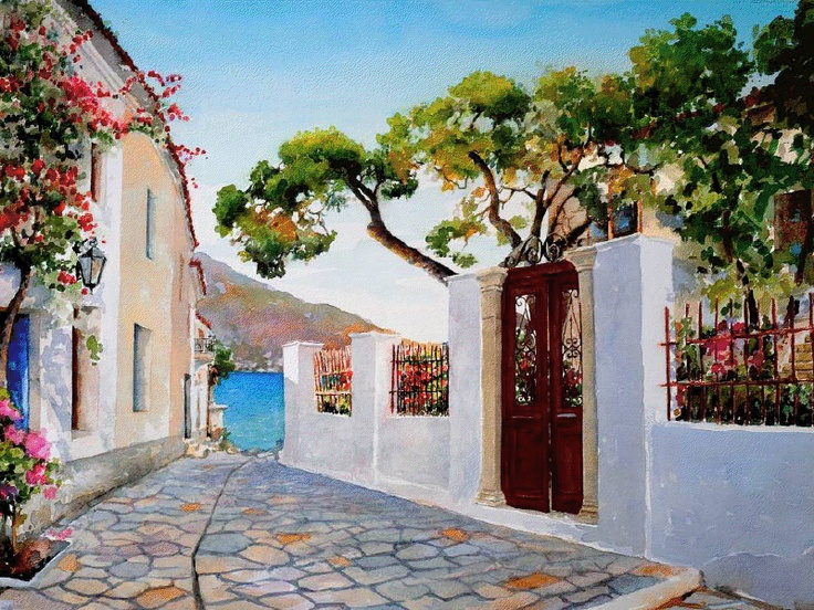 77 Best Images About Paintings Landscapes Greece On Pinterest Watercolour Greece And Terrace