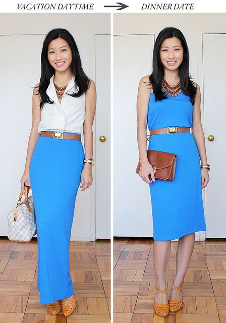 love the idea of making the maxi skirt a dress.