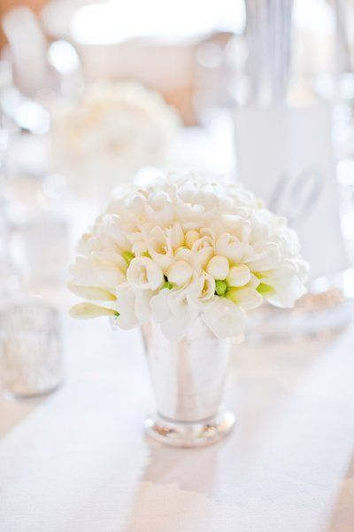 White tulip Classic Julep Cup Centerpieces, Wedding Flowers Photos by Watson Studios