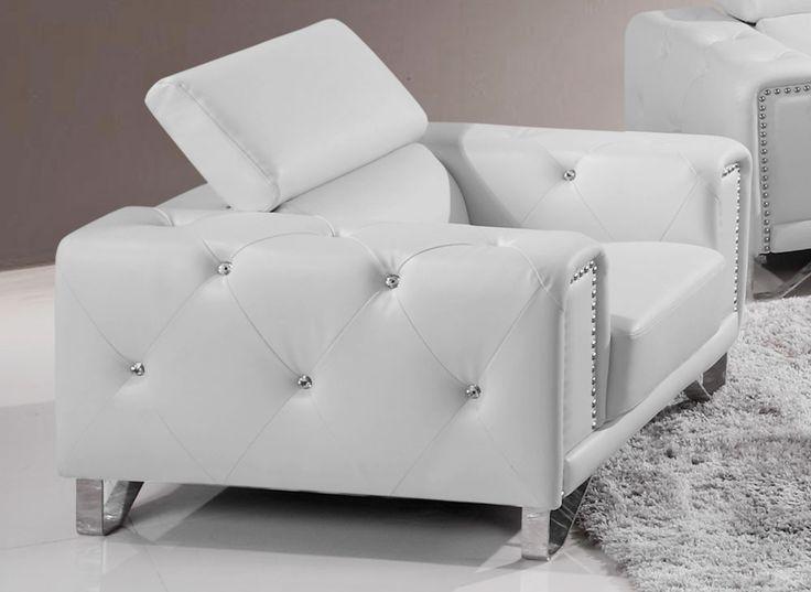 Eco Crystal Tufted White Leather Sofa