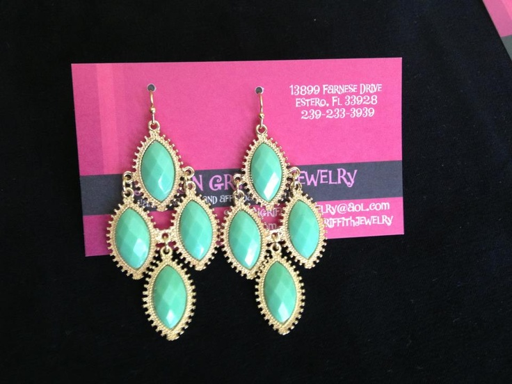 """Mint and Gold Abbey Earrings  2"""" Long  Quantity: 1 $14.00"""