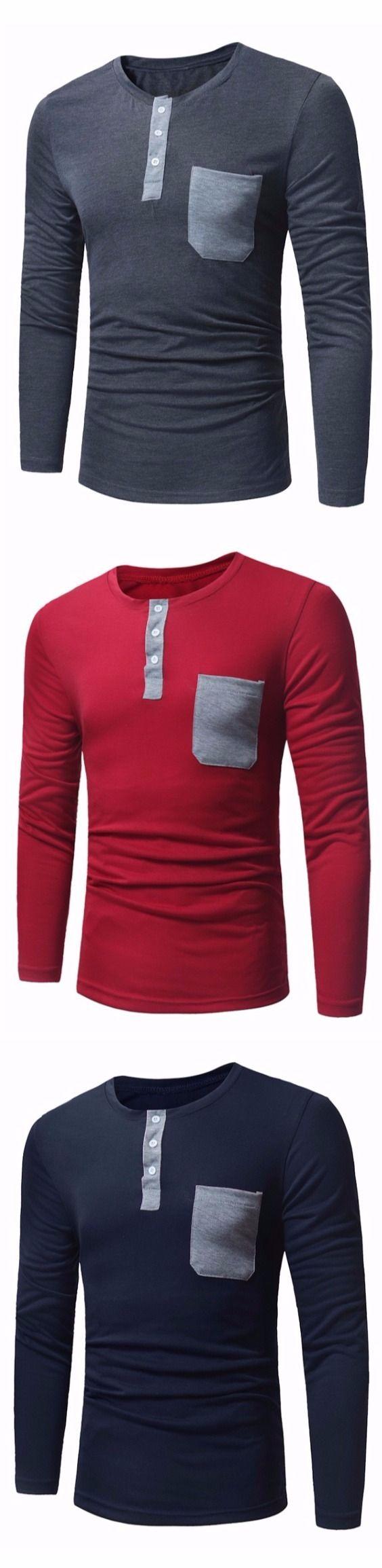 Crew Neck Pocket Henley T-Shirt