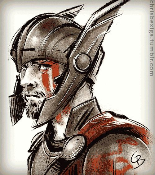 "chrisbexiga:  ""  On INSTAGRAM  The new trailer for ""Thor: Ragnarok"" has me super hyped! :D I love his helmet design… and his lightning eyes, couldn't resist drawing that! Can't wait to watch all the awesome ridiculousness!  *Please don't repost my work..."