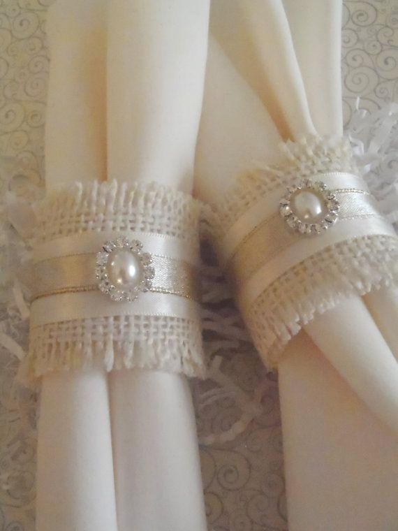 Burlap Napkin Rings for Holiday or Weddng shabby chic, woodland, country Christmas or anytime via Etsy