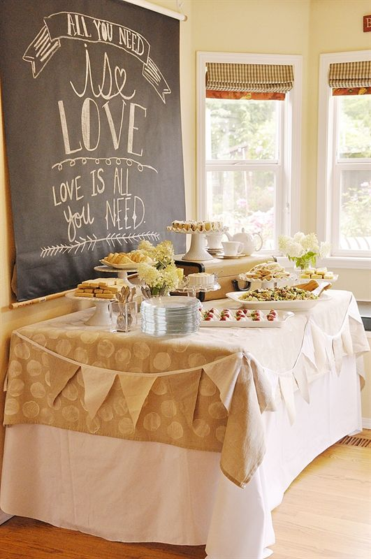I love the idea of hanging a large chalkboard as a backdrop for a party table...I can make a chalkboard by painting some wood, paper or metal sheeting with chalkboard paint...