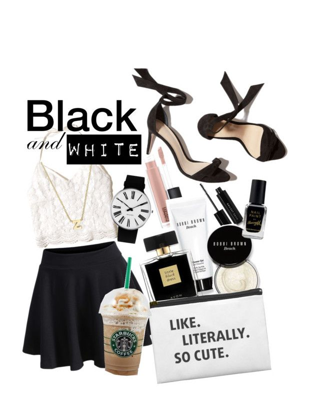Black & White by natalka-safranekova on Polyvore featuring polyvore fashion style Hollister Co. WithChic Rosendahl Zoë Chicco MAC Cosmetics Marc Jacobs Avon Bobbi Brown Cosmetics Barry M clothing