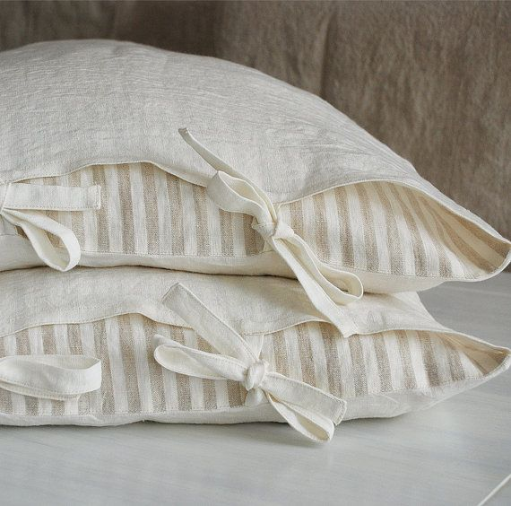 Check out this item in my Etsy shop https://www.etsy.com/listing/272386950/2-linen-pillowcases-with-ties-stone