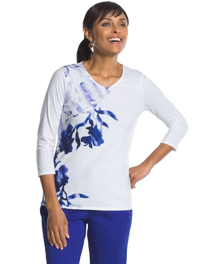 Chico's Women's Zenergy Jada Placed Floral Tee, Blue Grotto, Size: 3 (16/18 XL)