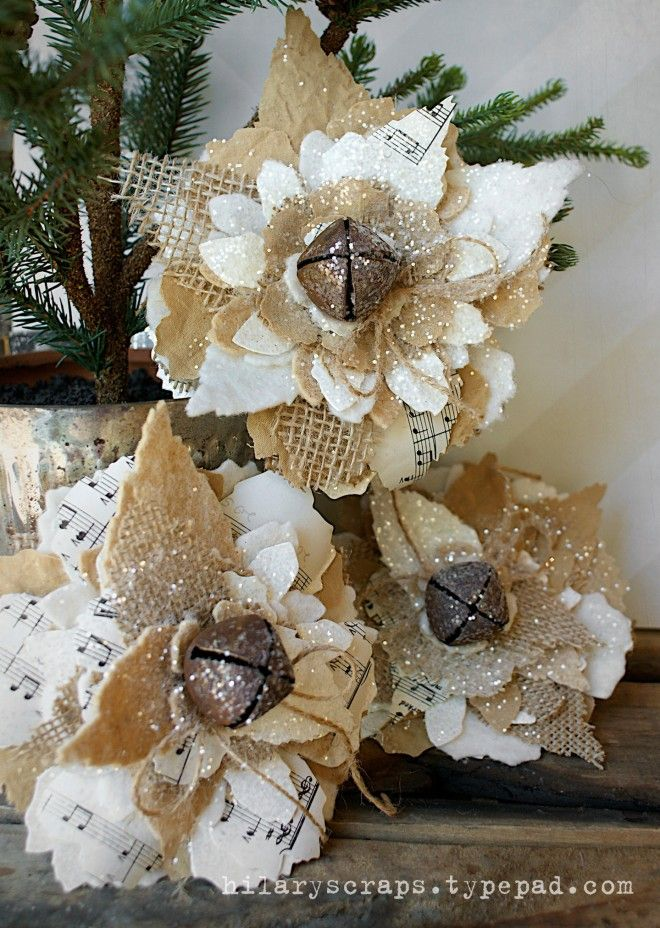Jumbo Tattered Florals Inspiration: Day 9 -- love the burlap and pp in the flowers