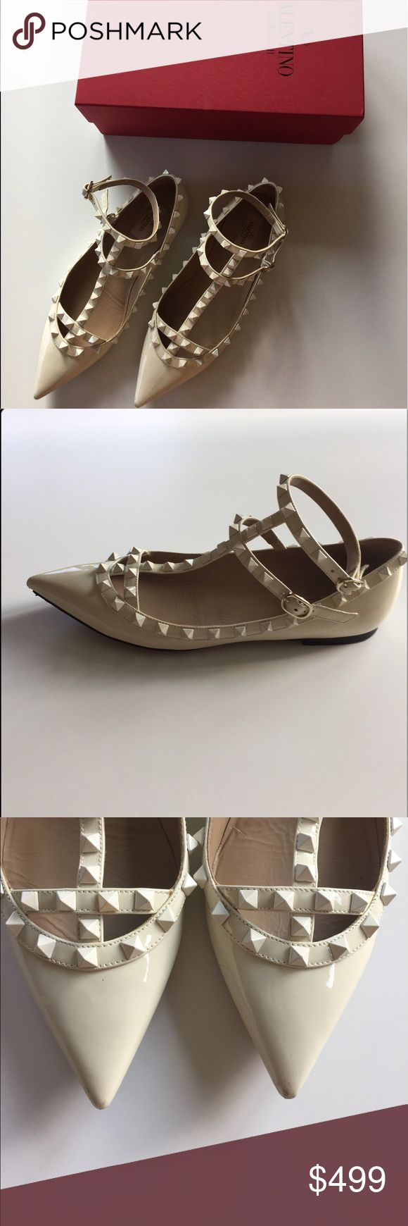 Red Valentino Rockstud Patent Cage Flats (Ivory) Leather upper with metal studs. Point toe. Adjustable ankle strap. Leather lining and sole. Used in good condition. RED Valentino Shoes Flats & Loafers