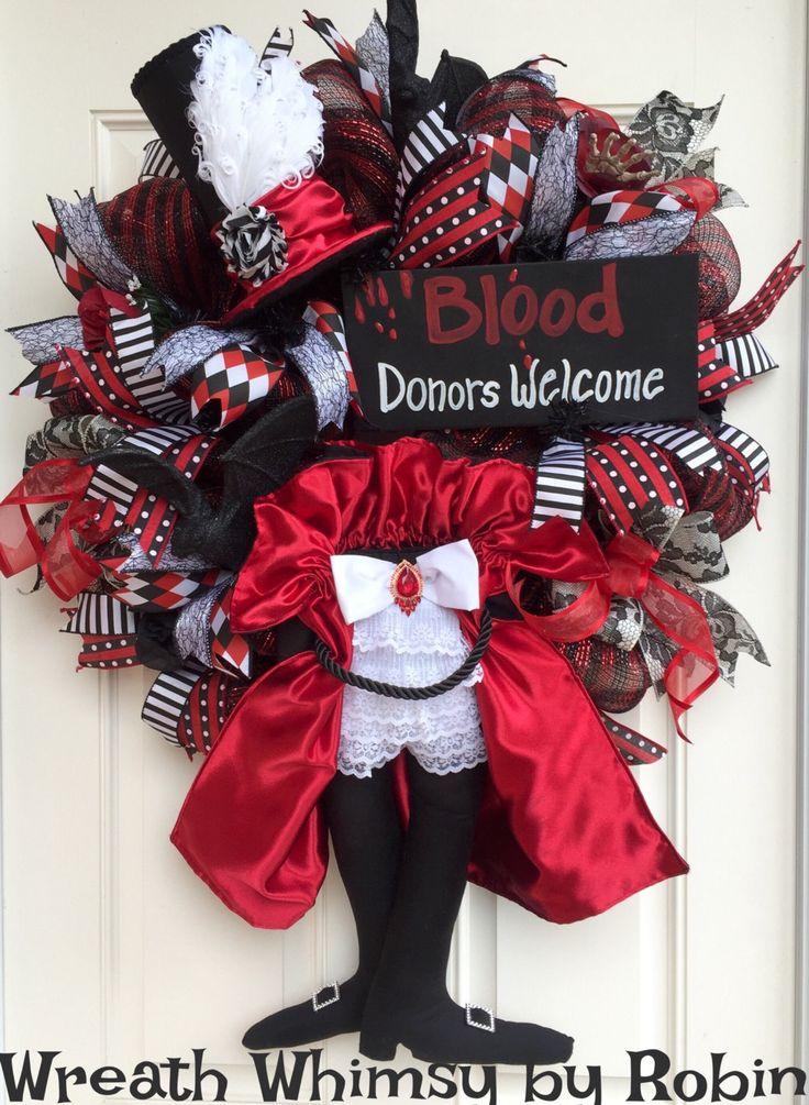 Halloween Deco Mesh Vampire Wreath, Dracula Wreath, Fall Wreath, Count Dracula…